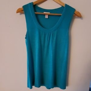 Chico's Sleeveless Green Blouse  100% Silk - 0